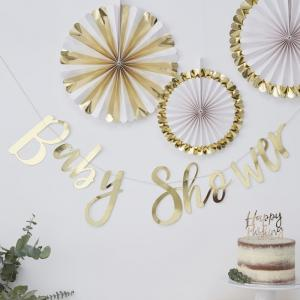 Gold Foiled Baby Shower Bunting - Oh Baby!