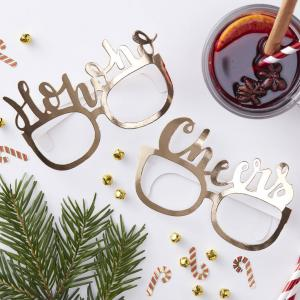 Gold Foiled Festive Funglasses - Red & Gold