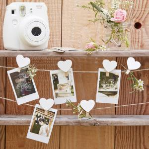 Wooden Heart Peg And String Set - Rustic Country