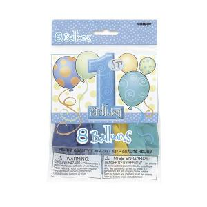 First Birthday Balloons Blue Printed Balloons