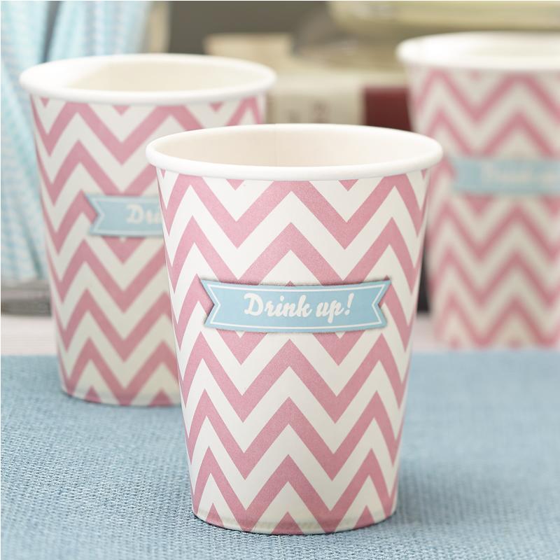 Paper Cups Powder Pink - Chevron Divine