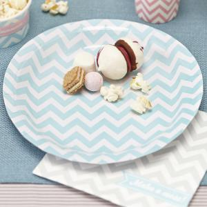 Paper Plates Powder Blue & Mint Green - Chevron Divine