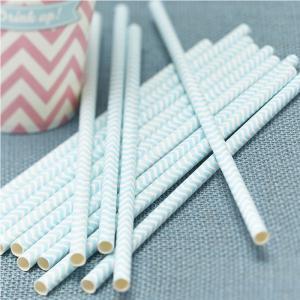 Powder Blue & Mint Green Paper Straws - Chevron Divine
