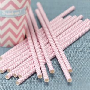 Powder Pink Paper Straws - Chevron Divine