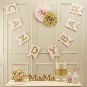 Pink & Gold Candy Bar Bunting - Pastel Perfection