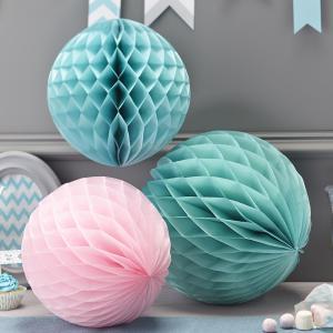 Pink & Pastel Honeycomb Balls - Chevron Divine