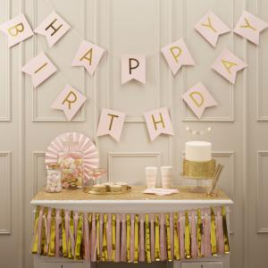Pink Happy Birthday Foiled Bunting - Pastel Perfection