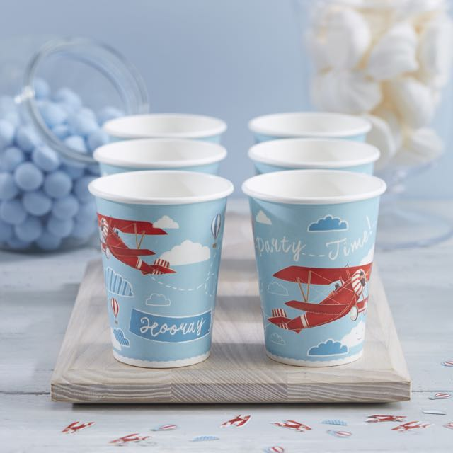 Vintage Aeroplane Paper Cups - Flying High