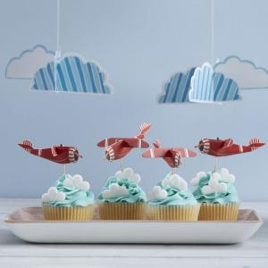 Vintage Plane 3D Cupcake Sticks - Flying High