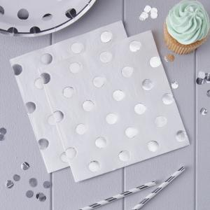 Silver Foiled Polka Dot Paper Napkins - Pick & Mix