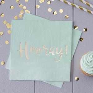 Mint & Gold Foiled Hooray Paper Napkins - Pick & Mix