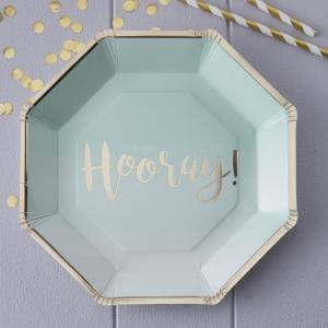 Mint & Gold Foiled Hooray Paper Plates - Pick & Mix