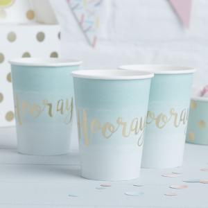 Mint & Gold Foiled Hooray Paper Cups - Pick & Mix