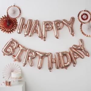 Rose Gold Happy Birthday Balloon Bunting - Pick & Mix