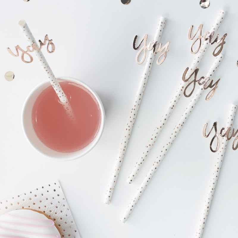 Rose Gold Yay! Paper Straws - Pick & Mix