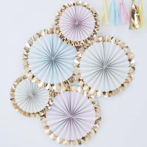 Gold Foiled Pastel Fan Decorations - Pick & Mix Pastel