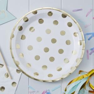 Gold Foiled Polka Dot Paper Plates - Pick & Mix