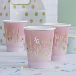 Gold Foiled Pink Ombre Happy Birthday Paper Cups - Pick & Mix