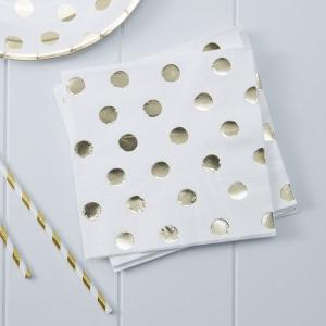 Gold Foiled Polka Dot Paper Napkins - Pick & Mix