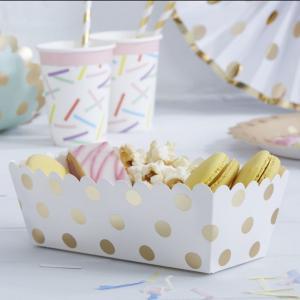 Gold Foiled Polka Dot Food Trays - Pick & Mix