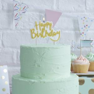 Sparkling Gold Happy Birthday Candle - Pick & Mix