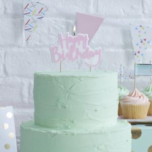Pink Happy Birthday Candle - Pick & Mix