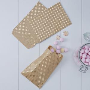 Gold Foiled Polka Dot Kraft Treat Bags - Pick & Mix