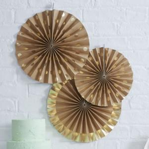 Gold Foil & Kraft Fan Decorations - Pick & Mix