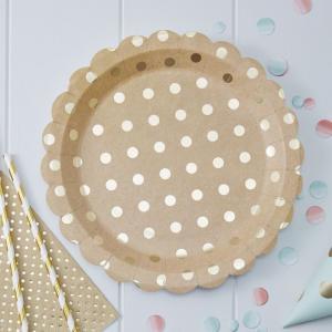 Gold Foiled Kraft Paper Plates - Pick & Mix