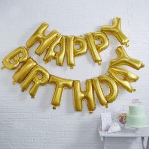 Gold Happy Birthday Foil Balloon Bunting - Pick & Mix