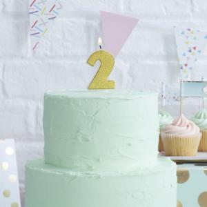 Gold Glitter 2 Number Candle - Pick & Mix