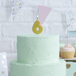 Gold Glitter 6 Number Candle - Pick & Mix