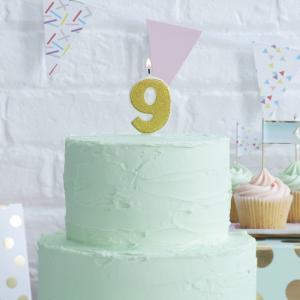 Gold Glitter 9 Number Candle - Pick & Mix