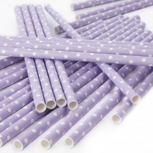 Lilac Polka Dot Paper Straws - ljuslila & prickiga sugrör