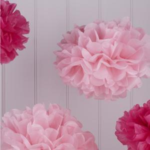 Tissue Paper Pom Poms - Hot & Light Pink - Vintage Lace