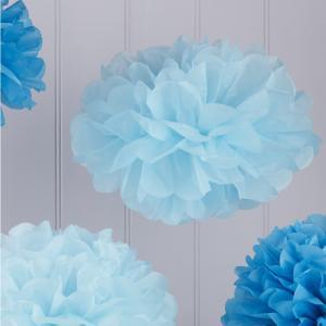 Tissue Paper Pom Poms - Baby & Dark Blue - Vintage Lace