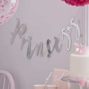 Silver Princess Backdrop Bunting Banner - Princess Perfection Party