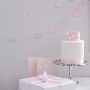 Pink & Silver Glitter Heart Garland - Princess Perfection Party
