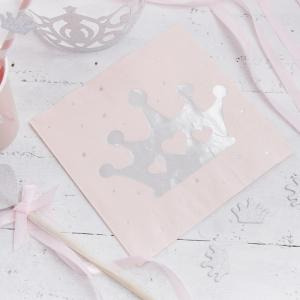 Pink & Silver Foiled Tiara Paper Napkins - Princess Perfection Party