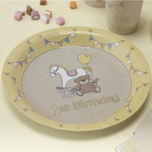 1st Birthday Paper Plates - Rock-a-bye