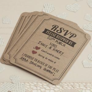 RSVP Cards in Brown Kraft - Vintage Affair
