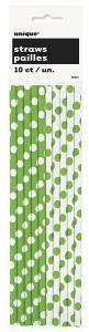 Green Polka Dot Paper Straws - grönprickiga sugrör