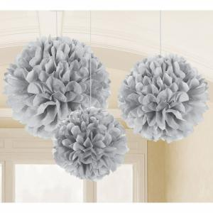 Silver Fluffy Tissue Paper Decorations