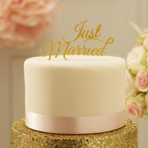 Sparkling Just Married Cake Topper Gold - Pastel Perfection