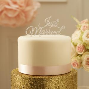 Sparkling Just Married Cake Topper Silver - Pastel Perfection
