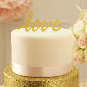 Sparkling Love Cake Topper Gold - Pastel Perfection