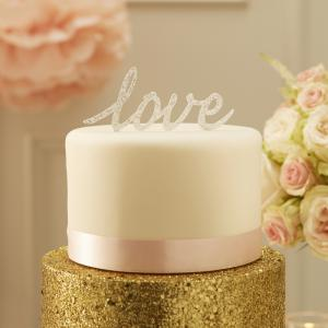 Sparkling Love Cake Topper Silver - Pastel Perfection