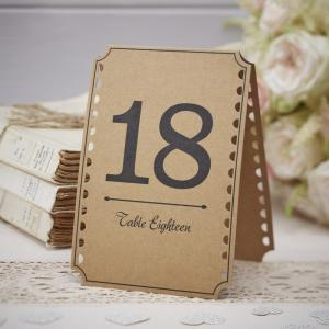 Brown Kraft Table Numbers 13-24 - Vintage Affair