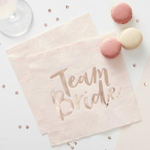 Pink & Rose Gold Hen Party Napkins - Team Bride