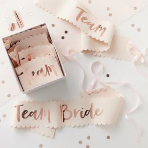 Pink And Rose Gold Team Bride Sashes - 6 Pack - Team Bride
